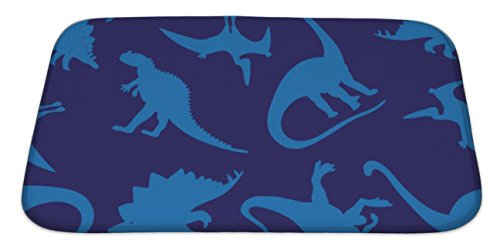 Gear New Bath Mat For Bathroom, Memory Foam Non Slip, Pattern Of Different Dinosaurs On A Blue Wrapping Paper Children Print, 34x21, 6236569GN by Gear New (Image #4)