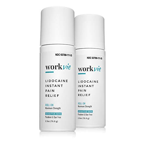 Workvie Lidocaine Pain Relief Roll On Cream 2 Pack - Extra Strength- Instantly Numbs Muscle and Joint Pain - Plus Arnica, Menthol and Aloe - for Sensitive Skin