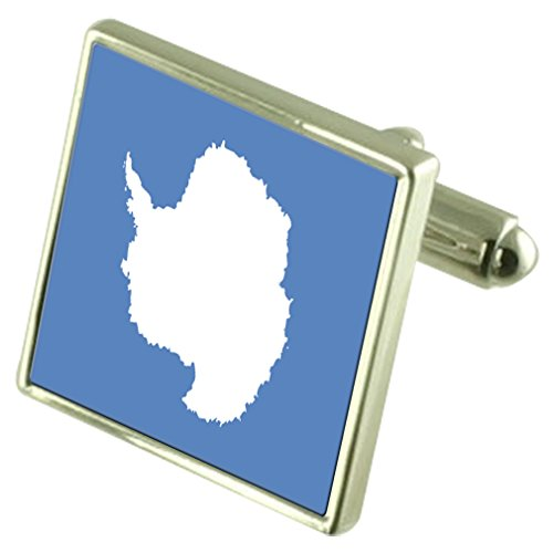 Antarctica Sterling Silver Flag Cufflinks by Select Gifts
