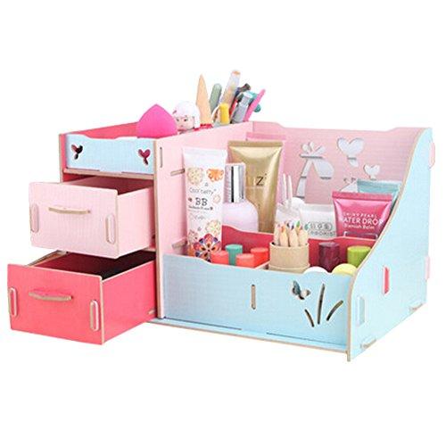 dolly2u Fashion Wooden Make-up Storage Box Cosmetic Display Organizer Colourful by dolly2u