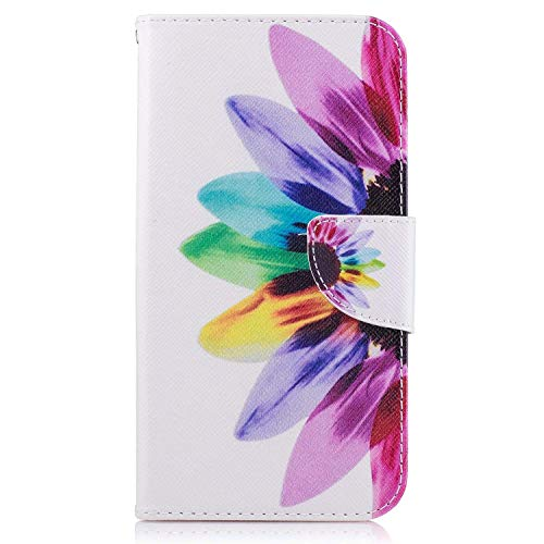 Galaxy J7 Perx Case, Galaxy J7 Sky Pro Case, Galaxy J7 V 2017 Case, Jenny Shop Premium Pu Leather Flip Folio Stand Feature Magnetic Closure Protective Shell Wallet Case with Card Slot (Sunflower) ()