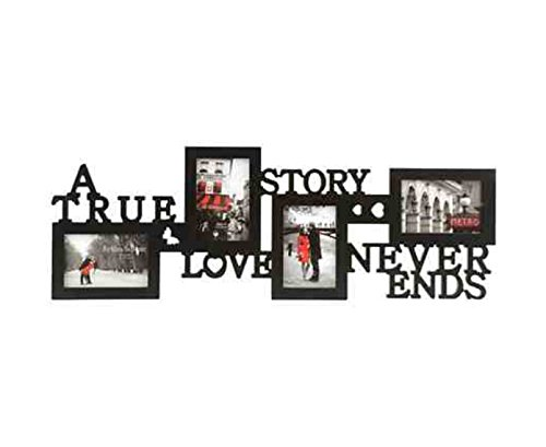 KNL Store a True Love Story Never Ends 4 Picture Collage Photo Frame, 4x6-inch, (Black) (Love Never Ends)