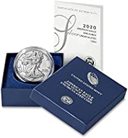 2020 W Burnished American Silver Eagle in OGP with CoA Dollar Uncircualted US Mint