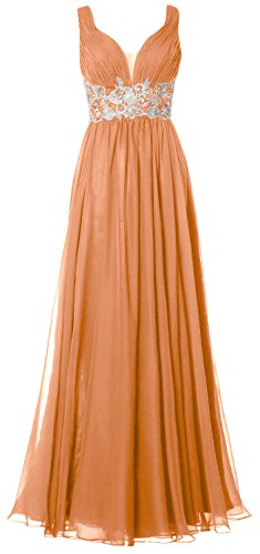 MACloth Women Straps V Neck Long Prom Dress Vintage Wedding Party Formal Gown Peach