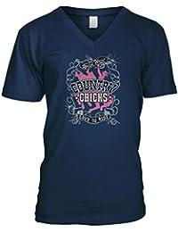 Mens V-neck T-shirt Country Chicks Love To Ride