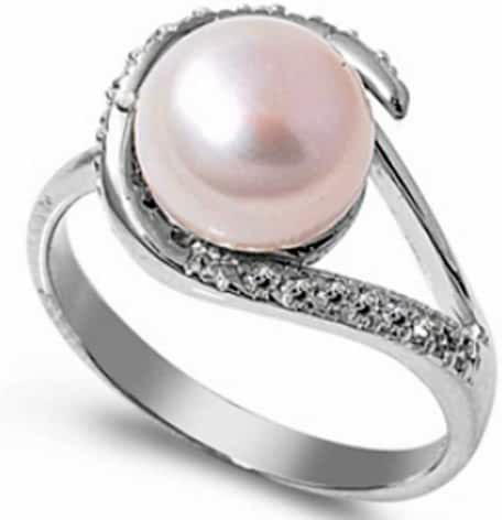 10MM .925 FINE STERLING SILVER RING PEARL RING W/ CZ SIZES 5-10