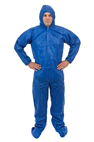International Enviorugard - Lightweight 3 Layer SMS General Protective Coverall for General Cleanup (25 per case) (XL, Blue)