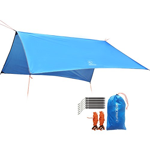 REDCAMP Camping Tent Tarp Rain Fly Waterproof, Lightweight Rain Trap Tent for Outdoor Hiking Backpacking, Blue