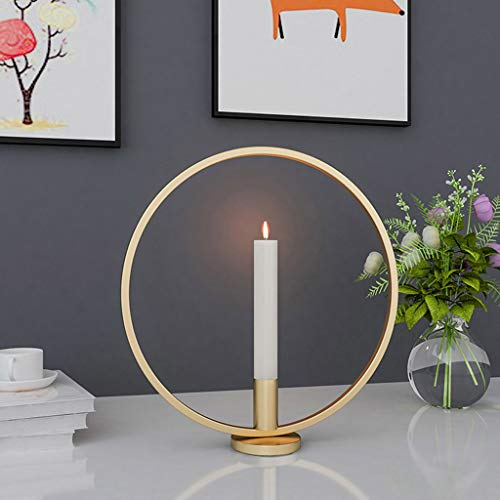 Maikouhai Round Metal Geometric Table Candlestick Lamp Home Decoration Candle Holder for Office Study Nightstand Bookshelf, Dia 20/25/30cm (Gold - 2, -