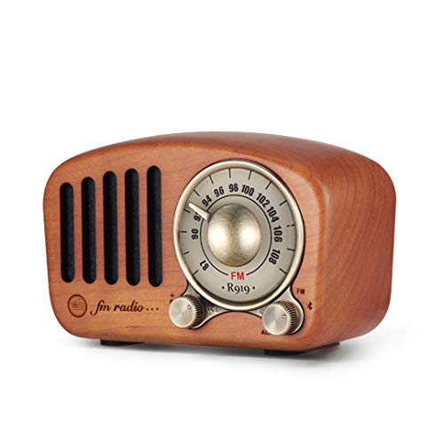 Vintage Radio Retro Bluetooth Speaker - Mifine Cherry Wooden FM Radio with Old Fashioned Classic Style, Strong Bass Enhancement, Loud Volume, Supports Bluetooth 4.2 AUX TF Card MP3 Player (Cherry)