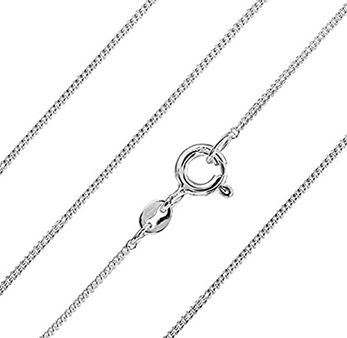 """Genuine 925 Sterling Silver 1.5 mm Curb Chain Necklace 16/"""" 18/"""" 20/"""" inch ITALY"""