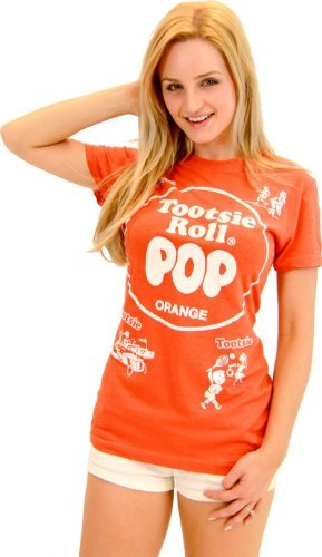 Tootsie Roll Pop Assorted Orange Costume T-shirt (Orange) (Juniors Large) -