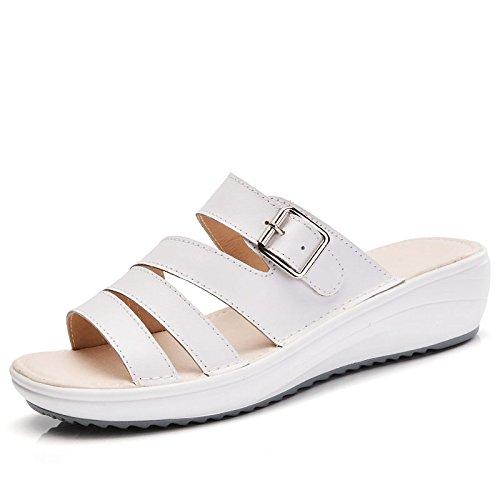 OME&QIUMEI Zapatillas De Playa Rosa Inferior Grueso Zapatos Sandalias Sandalias Sandalias Sandalias Sandalias De Verano Blanco