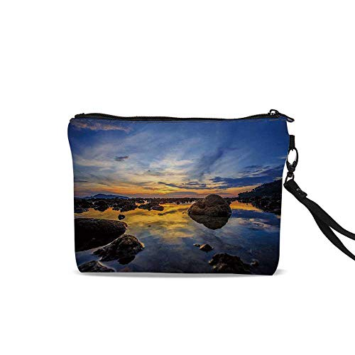 (Tropical Makeup Brush Bag,Twilight Rocky Sea Coast at Thailand Beach Exotic Night Dawn in Dramatic Image For Women Girl,9