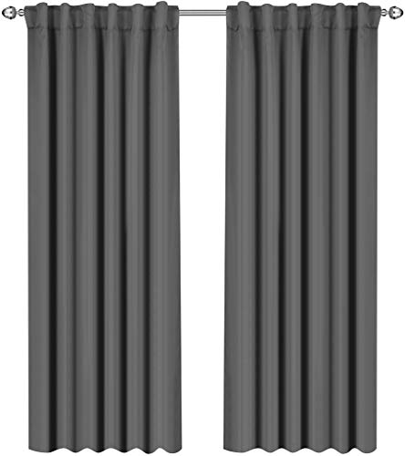 Utopia Bedding Blackout Room Darkening Curtains Window Panel Drapes Grey - 2 Panel Set 52x84 Inch ()