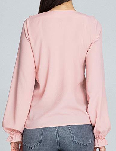 Chic Blouse bouriffer Soie Chemise Tee Ruffle Tops T Manche Shirts Rose Mousseline Hauts Casual Tunique Femme Longue lgant Chemisier Taille Grande de 8qOFS8