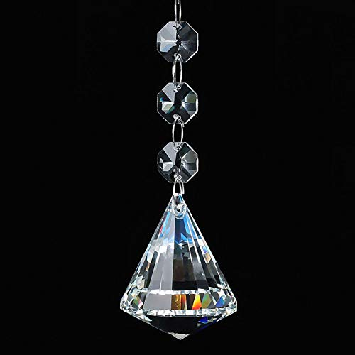 Bling Car Diamond Rear View Mirror Charms, Facet K9 Crystal, Sun Catcher Hanging Ornament/Beaded Chain, Car Chandelier, Bling Car Accessories, Home Decor Ornament (1.57 - Chain Rear Diamond