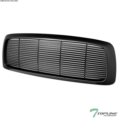 Topline Autopart Matte Black Horizontal Front Hood Bumper Grill Grille ABS For 02-05 Dodge Ram 1500 ; 03-05 2500/3500 ()