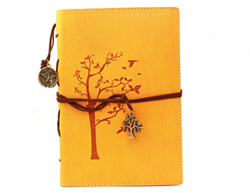 Valery Classic PU Leather Notebook-Vintage Diary-Journal -Blank/lined Refillable Loose Leaf Pages-Treeleaf Design-Men/women Daily Use Diary(Yellow)