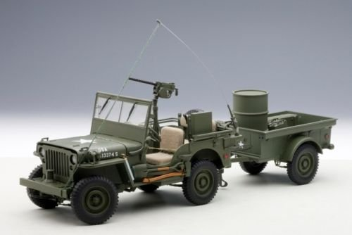 (AUTOart Jeep Willys Army Green with Trailer and Accessories 1/18 74016)