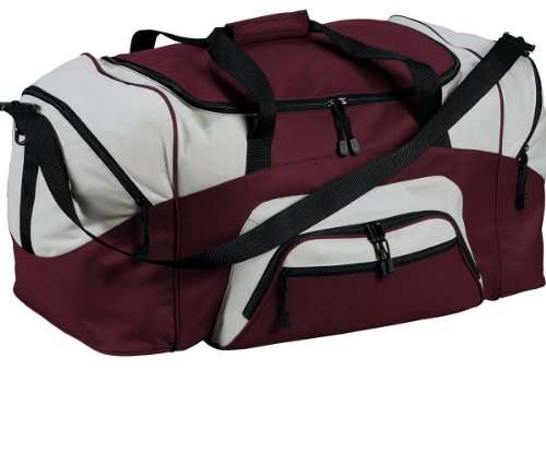 (Port & Company BG99 Colorblock Sport Duffel - Maroon/Grey -)