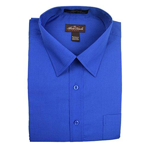 Alberto Danelli Men's Solid Long Sleeve Dress Shirt Royal, XXX-Large/19-19.5