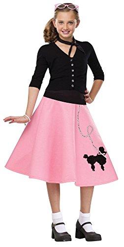 - Fun World 50's Sock Hop Girls Poodle Skirt Child Costume Large 12-14 Pink