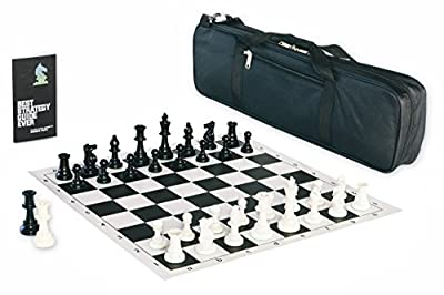 Contemporary Tournament Chess Set with Triple Weighted Game Pieces, Durable Chess Board, Strategy Guide, and Convenient Game Bag