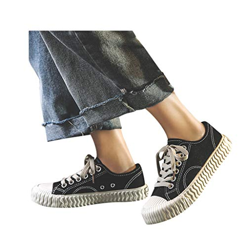 Veodhekai Womens Flats Shoes Canvas Lace Up Flat Shoes Loafers Sneakers Flat Espadrilles Cute Comfortable Black