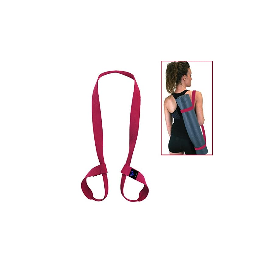 """NJ·SJ 2 in 1 Adjustable Yoga Mat Carry Strap Sling & Fitness Stretching Strap,Durable Cotton/Polyester Canvas Strap,Come with (Mat not included,71"""")"""