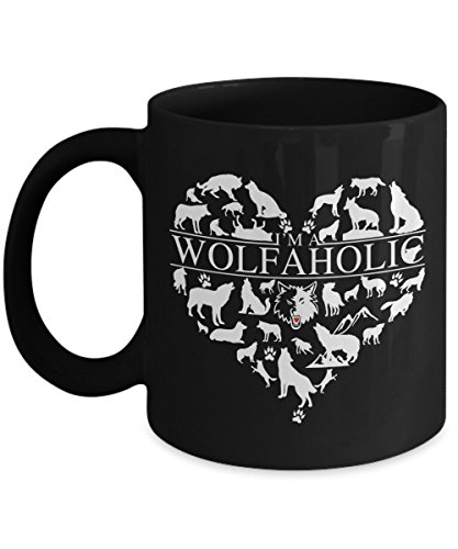 Great Gift For Wolf Lover - Wolfaholic Wolves Lovers Coffee Mug - 11 15oz Novelty Cozy Black Tea Cup - Best Gifts for Native People, Animal Rescuer, Wolves Rescue Shelter - Arctic, Gray Wolf Protect