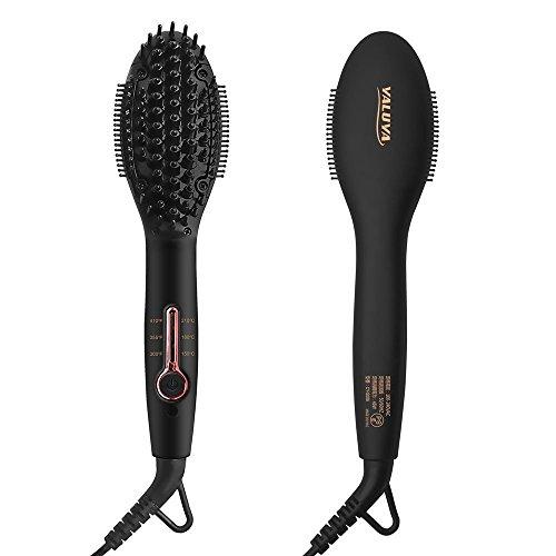 Straightener Hair Brush YALUYA Ceramic Portable Electric Heat Brush Straightening Irons 100-240V Fast Heating MCH Technology 3 Temperature Settings Anion Moisture Hair Styling Tools for Travel (Black)