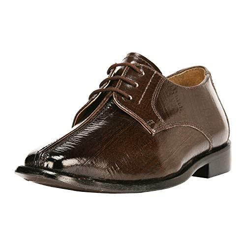 Liberty Boys Lace Up Walking Dress Shoes EEL Skin Print Kids Genuine Leather Gliders (Toddler/Little Kid/Big Kid) Brown
