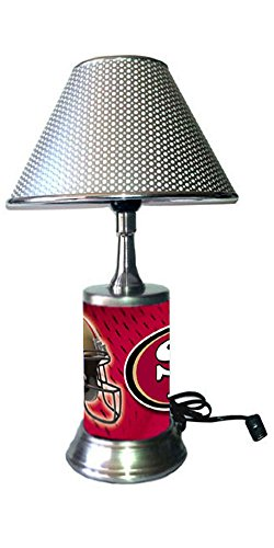 (JS Table Lamp with Chrome Colored Shade, San Francisco 49ers Plate Rolled in on The lamp Base)
