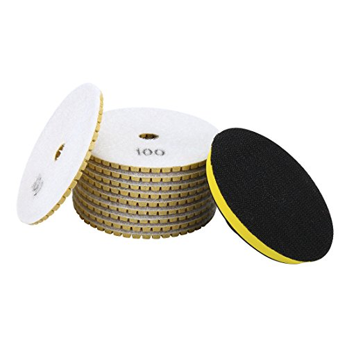 uxcell 4-inch Diamond Wet Polishing Sanding Grinding Pads Grit 100 10pcs w Rubber Backer (Grit Diamond Pad)