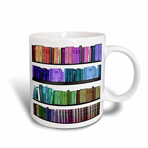 3dRose mug_112957_1 Colorful Bookshelf Books Rainbow Bookshelves Reading Book Geek Library Nerd Librarian Author Ceramic Mug, 11-Ounce (Coffee Ceramic Rose Mug)