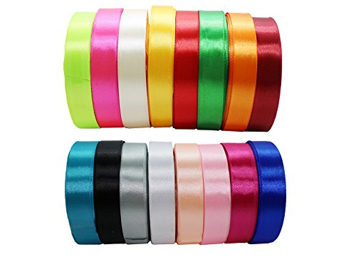 JESEP 16 Rolls 400 Yards Double Face Solid Satin Fabric Ribbon Multi-Color Packing for Gift Package Wrapping Hair Bow Clips Accessories, Crafting, Sewing, Wedding, Decorator, etc (1 20MM)