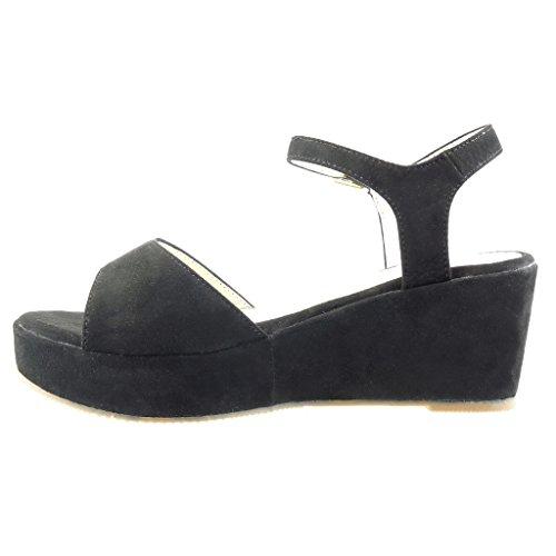Angkorly - Chaussure Mode Sandale Mule plateforme femme lanière boucle Talon compensé plateforme 7 CM - Noir