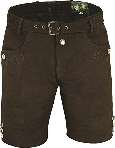 Lederhose mit Gürtel, echt Leder Nubuk Trachten Lederhose Herren kurz, Damen Trachtenlederhose mit Gürtel in Braun (44, Braun)