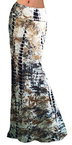 Macondoo Women Big Hem Stretchy Printing Booty Fold Over Waist Vogue Long Skirt 1 XS