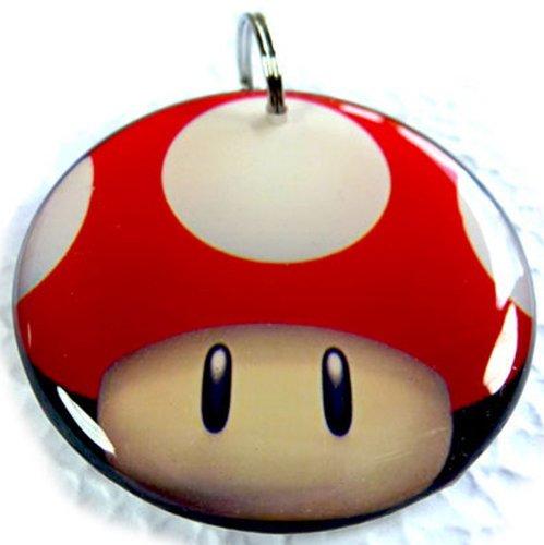 Pet Tags Mushroom head Power Up (Small 1.00'') by ID4Pet