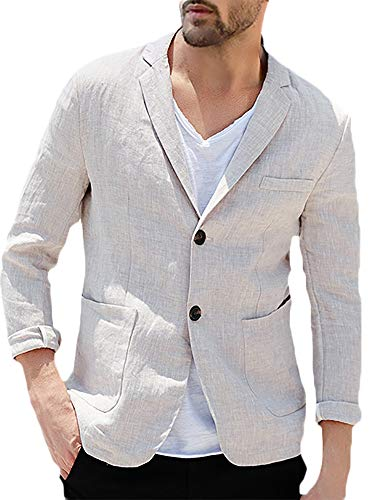 Taoliyuan Mens Linen Tailored Blazer Jacket Casual Slim Fit Lightweight Two Buttons Half Lined Sport Suit Coat