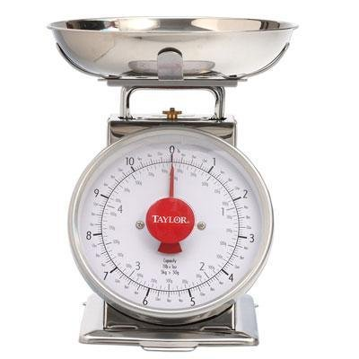 Taylor Stainless Steel Analog Kitchen Scale, 11 Lb. Capacity