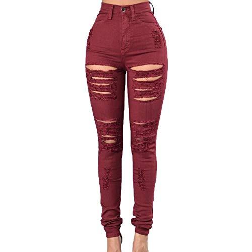 ADEMI Jeans para Mujer New Vaquero Skinny para Mujer High Super Skinny Red