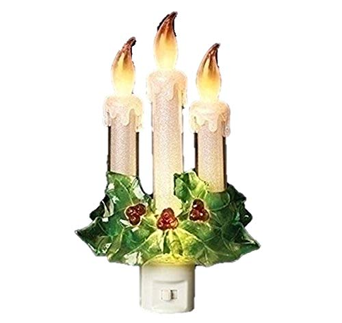 (Roman 3 Candles with Holly 7.75 Inch Acrylic Swivel Plug Flickering Night Light)