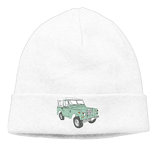 Richard Lyons Men Vintage Land Rover Series Casual Style Travel White Beanies Watch Cap