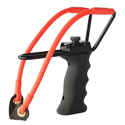Professional Adjustable Hunting Steel Slingshot / Catapult by TigerSlingshots with Quality Rubber Bands, Launcher with Ergonomic Molded Handle Grip- 100% Tested