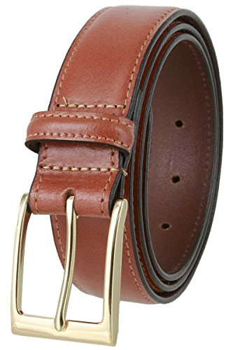Brian's Business Genuine Leather Belt with Gold Buckle 1-3/8 wide - Tans, 36
