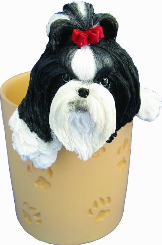 Shih Tzu Pencil Cup Holder with Realistic Hand Painted Shih Tzu Face and Paws Hanging Over Cup, Uniquely Designed Shih Tzu Gifts, A Convenient Organizer for Home or Office, One Of A Kind Pen Holder Shih Tzu Face
