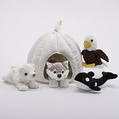 Plush 10-inch Snow House with 4 Stuffed Animals by Unipak (Dog 10